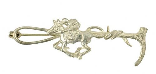 Horse and Crop Brooch Solid Silver Handmade to order Hallmarked British Boxed